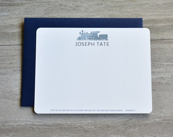 Personalized Christian Stationery Set | Flat Note Cards |  Scripture Stationery | Father's Day | Vintage Train | Set of 12+Envelopes