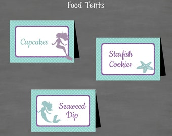 INSTANT DOWNLOAD Mermaid Baby Shower or Birthday Food Tents Labels (Buffet Cards or Place Cards) Under the Sea  Purple Turquoise Glitter
