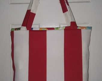 Red and White Candy Cane  Tote Bag