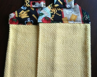 Pasta Italiano on Yellow Hanging Dish Towels (Set of 2)