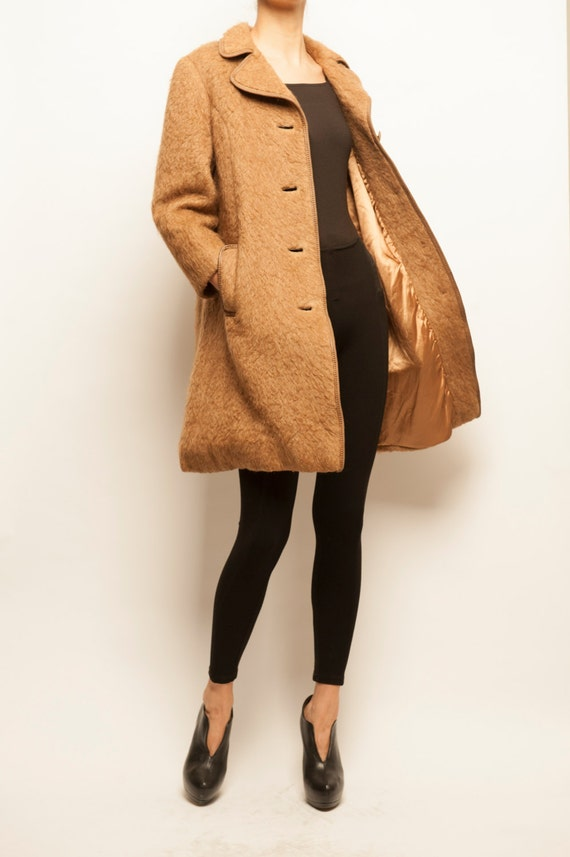 1960's camel hair simple form coat