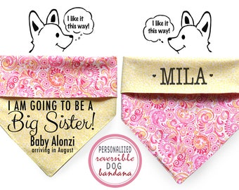 Personalized Stylish Reversible Dog Bandana- Baby Announcement
