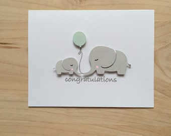 Elephant Baby Shower Card, Baby Shower Congratulations Card, New Baby Card