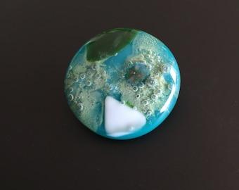 Brooche-Glass Jewelry-gift for women-gift woman-Dutch design-exclusive glass-glass art-Birthday gift-Jewelry-schmuck-spectrum Glass Green