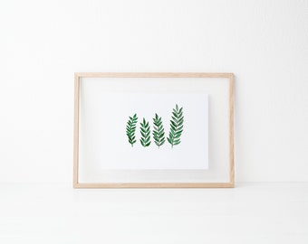 Four Leaves   Wall Decor   Watercolor
