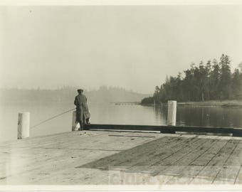 vintage photo 1924 Alone ~Man from Back Fishing Happy Retirement Abstract from Behind