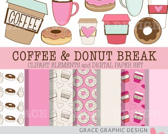 Coffee and Donut Clipart Set, Commercial Use Clipart Set, Food Clipart, Coffee and Tea Graphics, PNG and JPG, Pink Donut Digital Paper Set