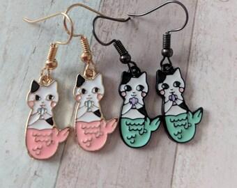 Cat earrings, cat jewelry, mermaid earrings, mermaid jewelry, gifts for her, novelty earrings, novelty jewelry, quirky earrings,