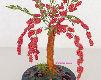 Beaded Wire Tree | Red Beaded Bonsai Tree | Wire Tree Sculpture