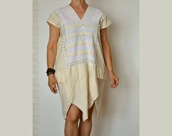 Women's summer dress, cotton linen dress, dress sleeveless size L, ecru dress,loose dress,upcycled clothing,artsy unique dress,holiday dress