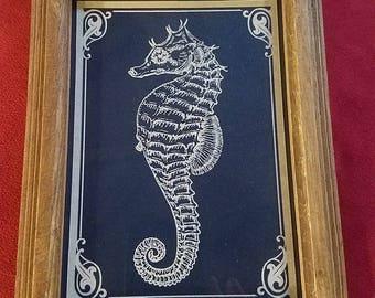 Seahorse wall art, Seahorse laser print, Seahorse, Seahorse art, Laser etched seahorse