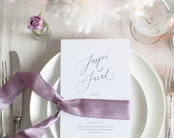 PRINTED Calligraphy Menu - Wedding Menu - DL