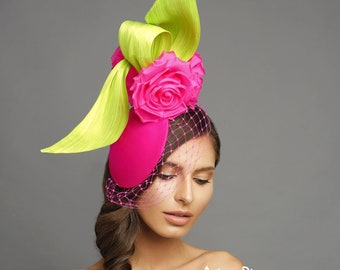 Newon Green/Fuchsia fascinator, Kentucky derby fascinator, derby hat, melbourne cup hats