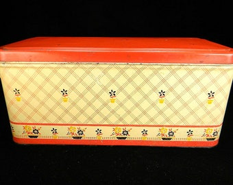 Vintage Flower Pots Loaf Bread Box with Red Lid