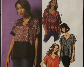 Butterick B5955 Misses' V-Neck Pullover Tops Sewing Pattern Size: Large, XLarge, XXLarge  Uncut