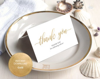 INSTANT DOWNLOAD PDF 3.5x5 tented style card Thank You card Wedding cards calligraphy Thank You Note Cards Printable Digital Gold #DP130_26