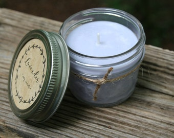Hand-poured All Natural Soy Candle, 4 oz. // Pick your Scent // Mason Jar Candle // 100% Soy Wax // All Natural Birthday, Hostess gifts