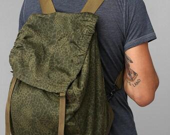 Vintage Polish army rucksack backpack puma leopard camo  ruck sack shoulder bag satchel camuflage military