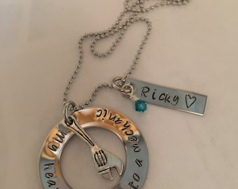 Hand stamped mechanic stainless steel necklace