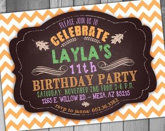 Fall Birthday Party Fall Birthday Invitation Girl Birthday Boy Birthday Chevron Birthday Invitation Printable Birthday Rustic Birthday