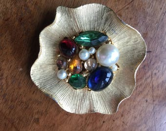 Vintage Large Flower Pin Pearls Stones Cabochons