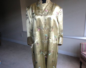 Vintage Oriental Asian Satin Brocade Long Coat 1950 1960