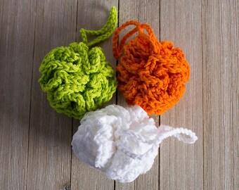 Small Crochet Loofah - Cotton Loofah - All Cotton Bath Pouf - Bath Sponge - Eco Friendly - Shower Puff - Handmade Spa Accessory