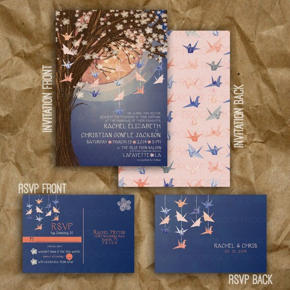 Paper Crane Moon Wedding Invitation // Navy And Peach