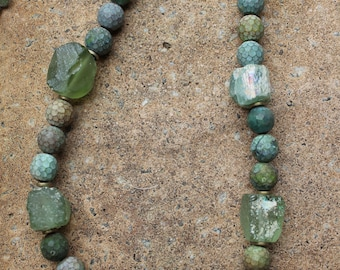Stone and Roman Glass Necklace