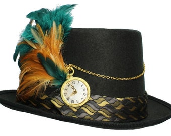 Black Felt Top Hat Off The Clock Steampunk Topper Womens Mens Cosplay Gold Teal