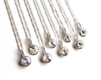 Bridesmaid Necklace Set of 8, Bridesmaid Gift, Bridesmaid Proposal, Bridesmaid Jewelry Set of 8, Sterling Silver, Swarovski Crystal Necklace