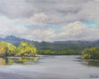 Summer Skies - Small Original Plein Air River Landscape Painting