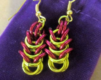 Half Byzantine chainmaille earrings
