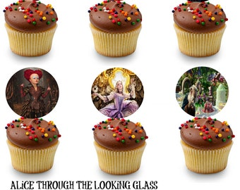 Alice through the looking glass cupcake toppers - party circles- favor tags - instant download