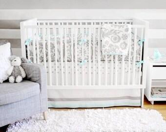 Aqua & Gray Wink Baby Bedding Set