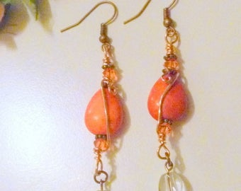 Pink Ceramic Teardrop and Crystal Beaded Wirewrapped Earrings
