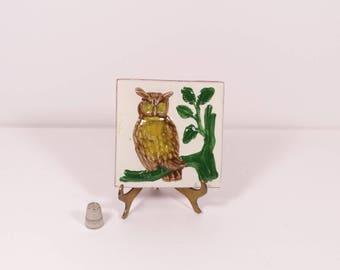 Vintage Owl Tile Mexican Tile Bas Relief Ceramic Tile