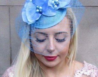 Light Turquoise Blue Birdcage Veil Orchid Flower Fascinator Pillbox Hat Vtg 4687