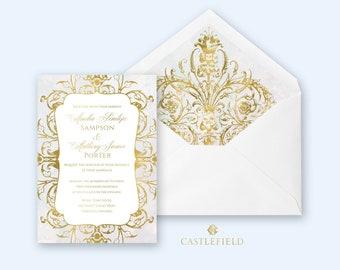 Castlefield Gold Baroque Rococo Flourishes Watercolor Wedding Event Invitations RSVP Stationery Customized Printable Luxury Invitation