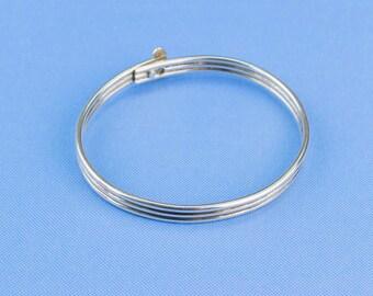 Bracelet Sterling Silver Bangle Clasp Three Bands Vintage