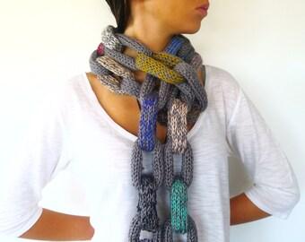 Bufanda multicolor hecha a mano   Bufanda cadena para mujer   Bufandas originales   Bufandas tejidas