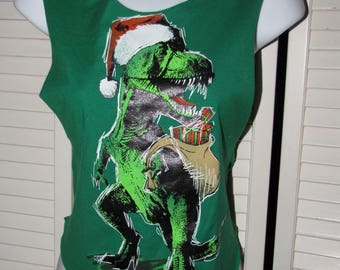 green red christmas trex dino dinosaur backless hippie inspired crop top sliced woven size extra small XS S