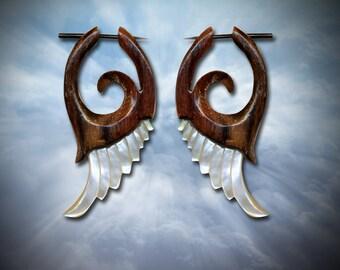 Fake Gauge - Mother of Pearl and Wood - Cupid Wings - Post Earrings - SWM1