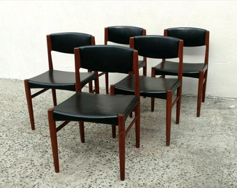 Mid Century Dinning Chairs Leather/Vinyl /Set 5