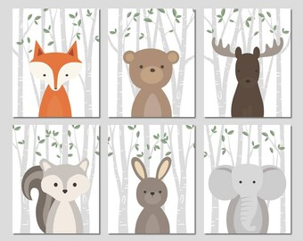 Forest animals prints for nursery, Woodland print set, Woodland baby animals, Nursery animals, Forest friends Modern nursery Print