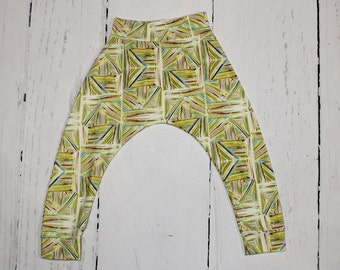 Lime Lines, Baby and Kids Harem Pant Leggings