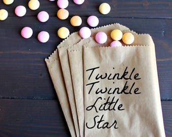 Twinkle Twinkle Little Star, First Birthday Ideas, 1st birthday party, Baby first birthday themes - Kraft Paper Bags