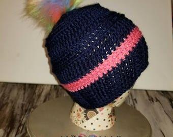 Crochet Pom Pom Beanie | READY TO SHIP | Pom Pom Hat |