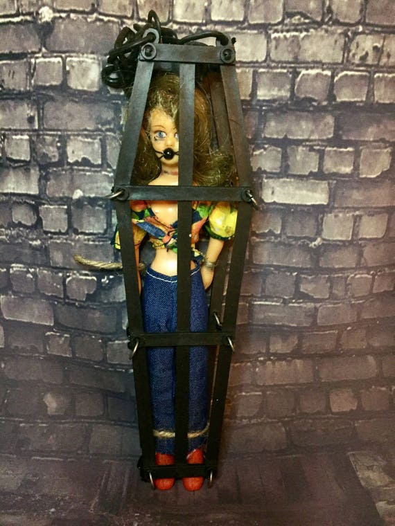 Caged Captured Ball Gagged Hanging Vintage Undead Horror Biohazard Beauty