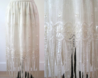 Vintage 1970s Beaded Lace Skirt with Fringe and Sequin Pearl Flower Embroidery - One Size Fits All 1920 Style Flapper - Wedding Eveningwear